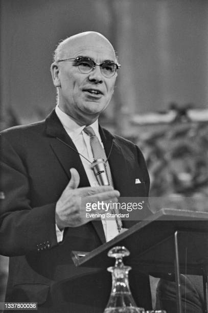 English industrialist Sir Donald Stokes speaks at the Institute of Directors' Annual Conference at the Royal Albert Hall in London, UK, November 1965.