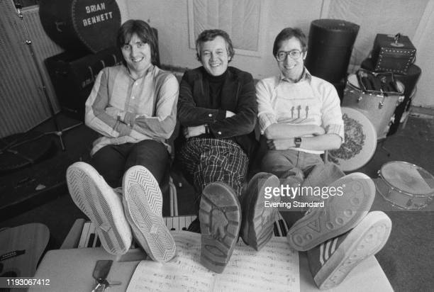 English instrumental rock group The Shadows at a recording studio, UK, 18th March 1977; they are Bruce Welch, Brian Bennett, Hank Marvin.