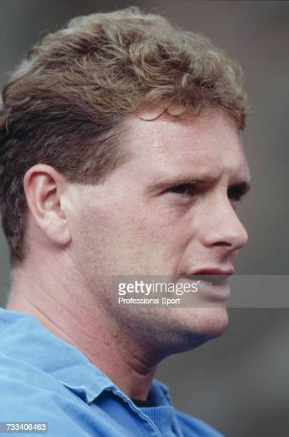 English international footballer and midfielder with Lazio, Paul Gascoigne pictured during an England national team training session on 9th October...