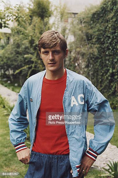 English international footballer and player with Leeds United Allan Clarke pictured wearing a personalised Umbro track suit top during a training...
