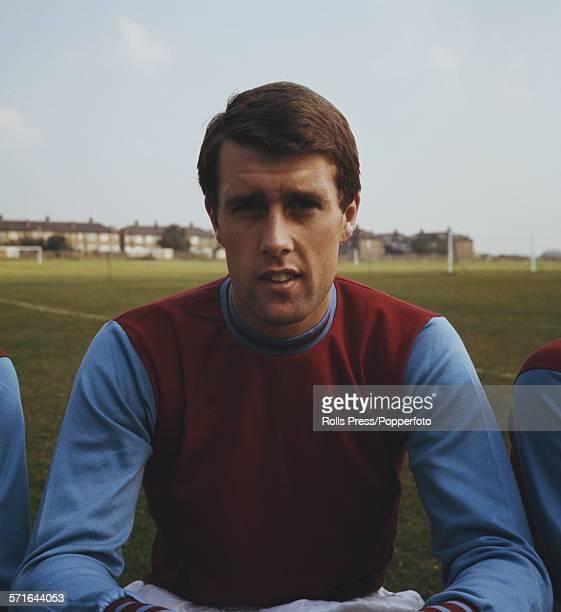 English international footballer and striker with West Ham United Geoff Hurst posed wearing West Ham team kit in August 1966