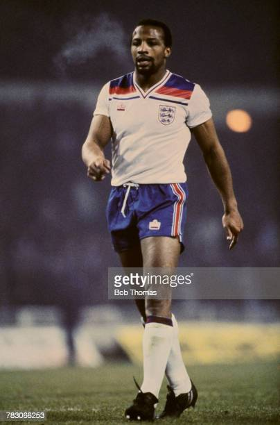English international professional footballer Cyrille Regis of West Bromwich Albion pictured in action for the England national football team circa...
