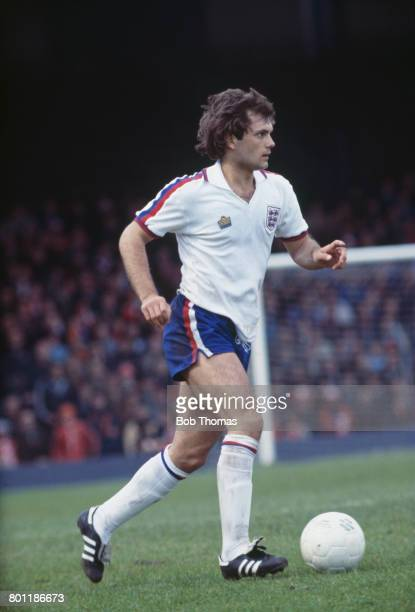 English international professional footballer Ray Wilkins of Chelsea pictured in action for the England national football team in the British...
