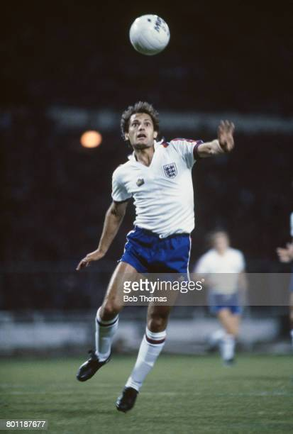 English international professional footballer Ray Wilkins of Chelsea pictured in action with the ball for the England national football team in the...