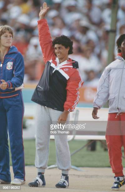 English javelin thrower Fatima Whitbread of the Great Britain team waves to the crowd after finishing in third place to win the bronze medal in the...