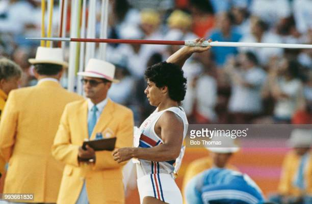 English javelin thrower Fatima Whitbread pictured during competition to finish in third place to win the bronze medal in the Women's javelin throw...