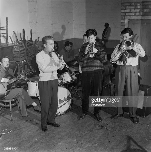 English jazz clarinet player Monty Sunshine pictured 2nd from left with his band from left guitarist Dick Bishop drummer Nick Nicholls pianist Johnny...