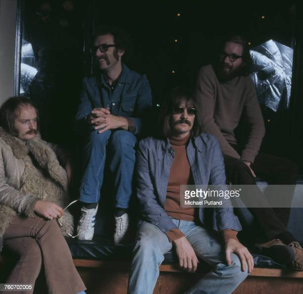 English jazz rock group Soft Machine pictured backstage at a concert in Guildford England in November 1972 The band are from left to right Karl...
