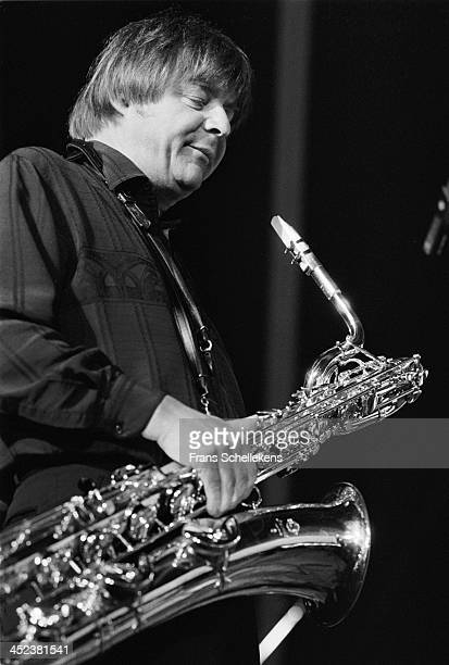 English jazz sax player John Surman performs at the North Sea Jazz Festival in the Hague, the Netherlands on 14th July 1989.