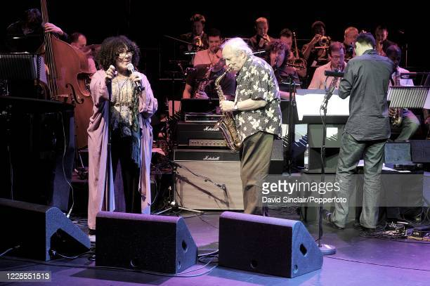 English jazz saxophonist and composer John Dankworth performs live on stage with Cleo Laine at the BBC Jazz Awards in London on 21st July 2008