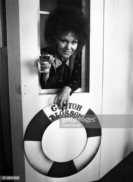 English jazz singer Cleo Laine attends a champagne party to launch the 'SS Cotton Blossom' a prop vessel for a new production of the musical 'Show...