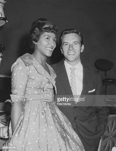 English jazz singer Maxine Daniels and pop singer Dennis Lotis at the Lime Grove Studios in London during rehearsals for the BBC television programme...