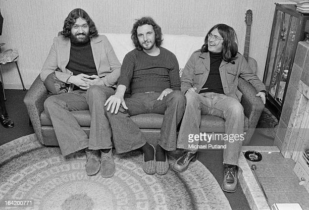 English jazzrock trio Back Door Peterborough 5th April 1973 Left to right drummer Tony Hicks bassist Colin Hodgkinson and saxophonist Ron Aspery