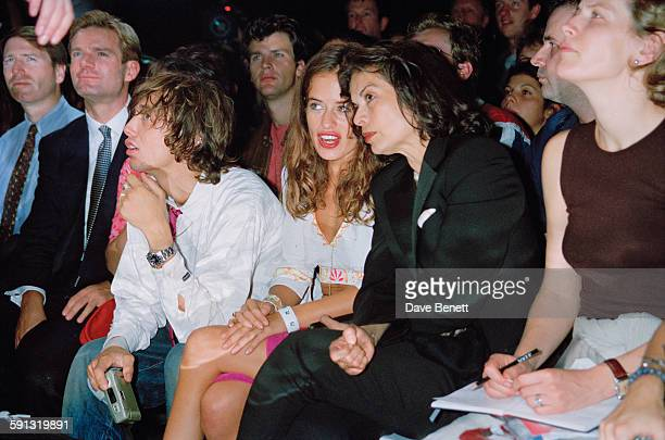 English jewelry designer Jade Jagger with her mother Bianca Jagger and fashion designer Daniel Macmillan at a Julien MacDonald fashion show at the...