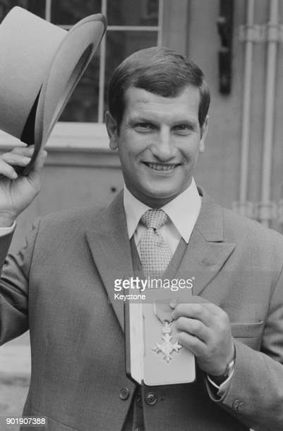 English jockey Bob Champion at Buckingham Palace in London after receiving his OBE 21st July 1982
