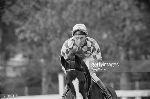English jockey Lester Piggott at a race meeting at Lingfield Park Racecourse Surrey 11th October 1963