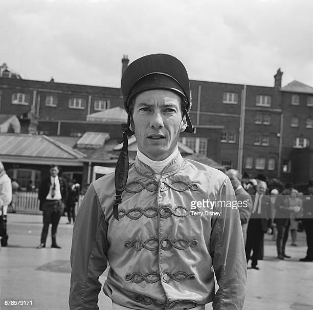 English jockey Lester Piggott in his silks at Newbury Racecourse UK 20th May 1966