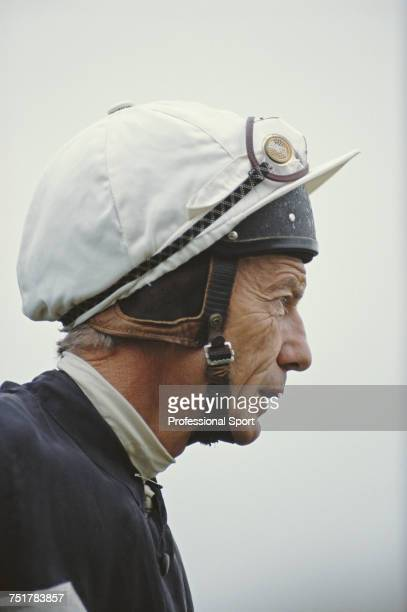 English jockey Lester Piggott pictured after coming out of retirement to resume his racing career as a jockey at a horse race meeting at Leicester...