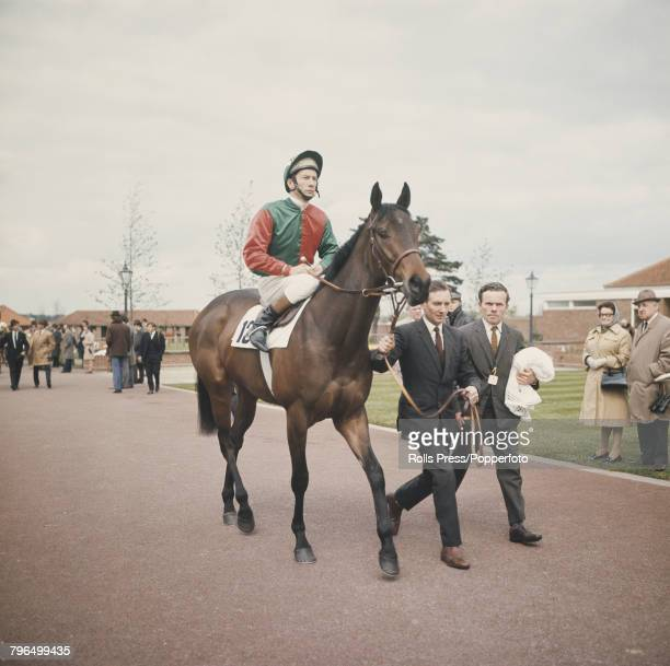English jockey Lester Piggott pictured on the racehorse Princess Bonita prior to racing at a horse race meeting at a racecourse in England in 1972