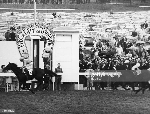 English jockey Lester Piggott rides Rheingold to victory in the Prix de l'Arc de Triomphe at the Longchamp Racecourse in Paris 7th October 1973...