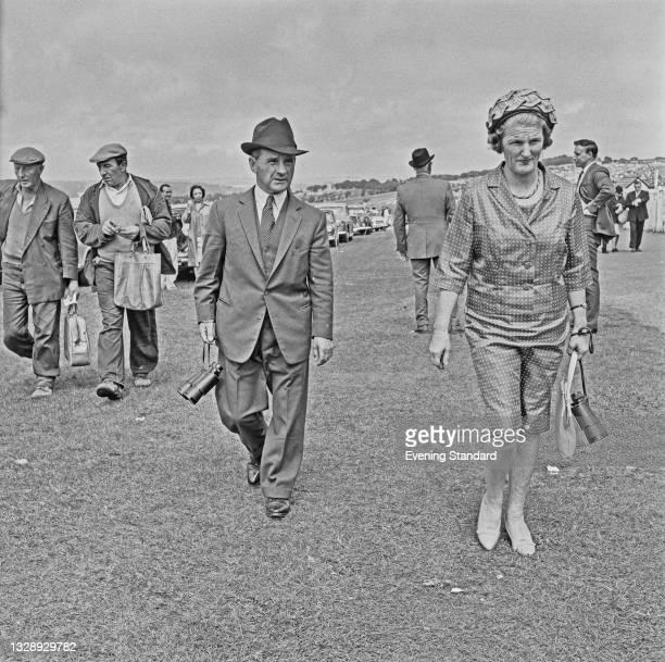 English jockey Sir Gordon Richards and his wife, Lady Jean Richards, UK, 4th August 1965.