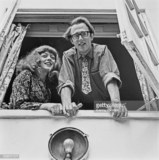 English journalist and author Rachel Anderson with her fiancé, drama and theatre academic David Bradby , UK, 15th May 1965. They were married a month...