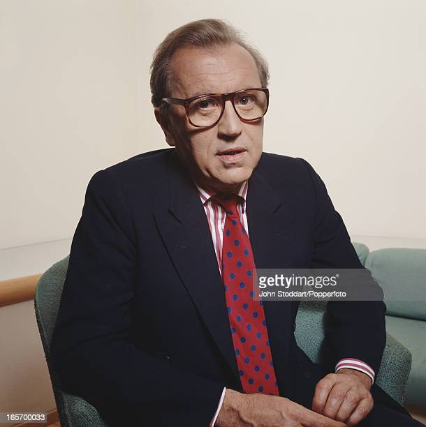 English journalist and broadcaster David Frost posed in 1992