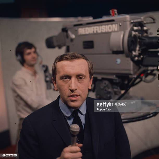 English journalist and broadcaster David Frost posed on the set of The Frost Programme for Rediffusion in 1968