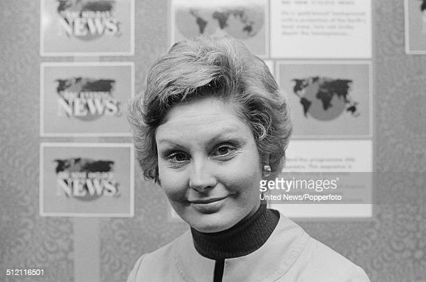 English journalist and newsreader Angela Rippon posed in the news room at BBC Television Centre on 18th February 1976