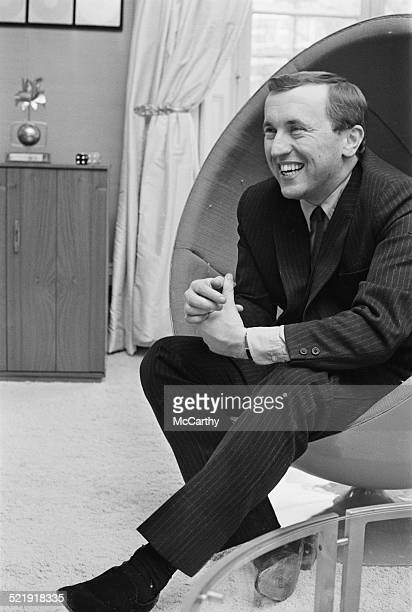English journalist and television host David Frost relaxing at home 1969