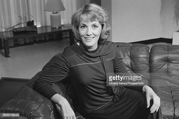 English journalist and television presenter Esther Rantzen posed on a leather style sofa in the BBC Breakfast Time studio in Lime Grove London on...