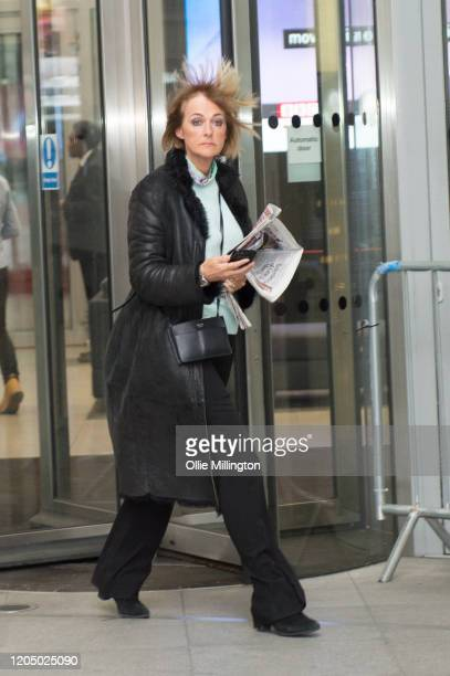 English journalist author and television presenter Jane Moore leaves BBC Broadcast house after taking part in the Andrew Marr Sunday Morning BBC...