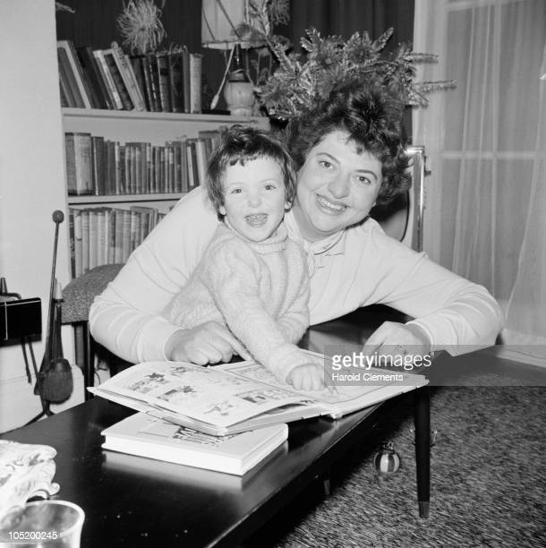 English journalist Claire Rayner at home with her daughter Amanda 30th December 1961