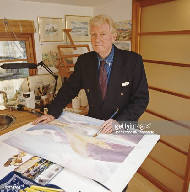 English journalist historian speechwriter and author Paul Johnson shows his watercolour landscape painting circa 1995