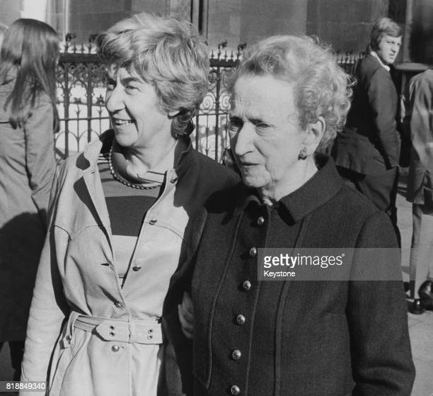 English journalist Nora Beloff , political correspondent for 'The Observer', at the law courts in London, where she is bringing a libel case against...