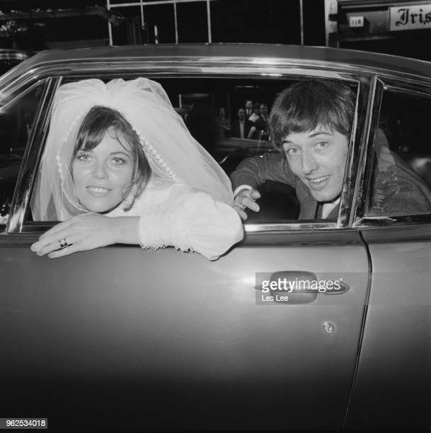 English journalist Penny Junor pictured with her husband restaurateur James Leith in a car on their wedding day on 9th September 1970 Penny Junor is...