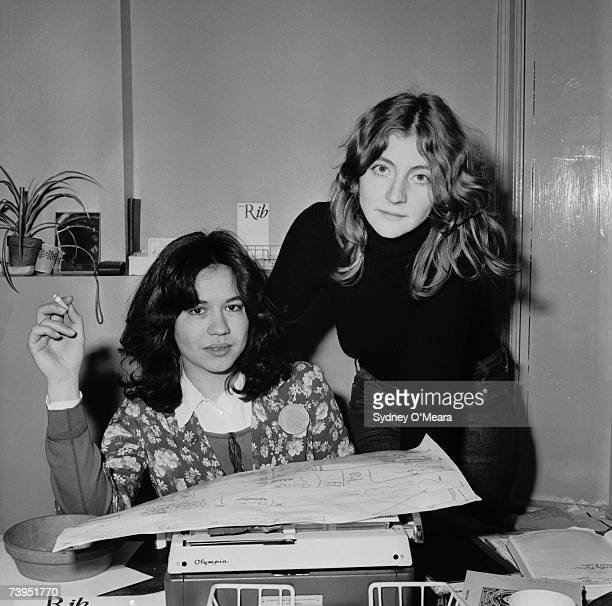 English journalists and publishers Marsha Rowe and Rosie Boycott founders of the feminist magazine 'Spare Rib' at the magazine's offices 19th June...