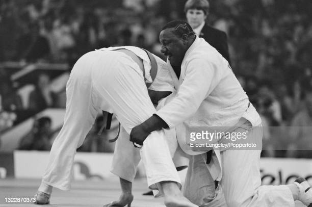 English judoka Elvis Gordon , on right, in competition to win the gold medal for England in the Men's heavyweight judo event at the 1990 Commonwealth...