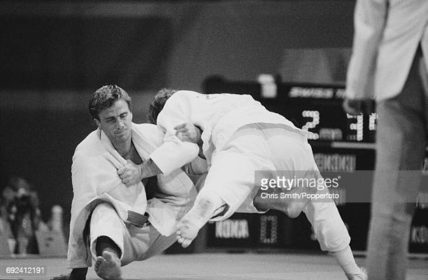 English judoka Neil Adams of the Great Britain team pictured competing against an opponent in the Men's half middleweight Judo event at the 1984...