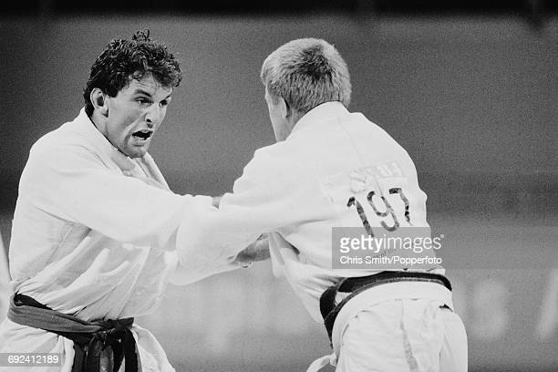 English judoka Neil Eckersley of the Great Britain team pictured competing against an opponent in the Men's extra lightweight Judo event at the 1984...