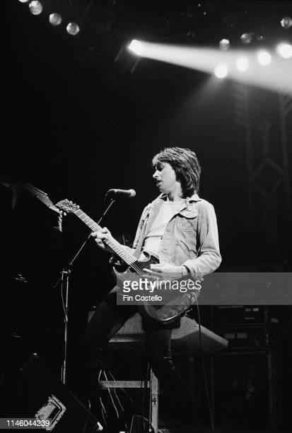 English keyboard player and guitarist Paul Raymond performing with rock group UFO at the New Theatre Oxford 20th January 1980