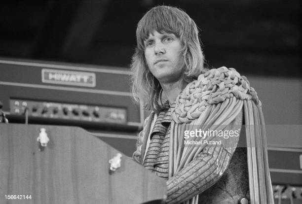 English keyboard player Keith Emerson performing with Emerson, Lake & Palmer at the Melody Maker Poll Awards Concert at the Oval cricket ground,...