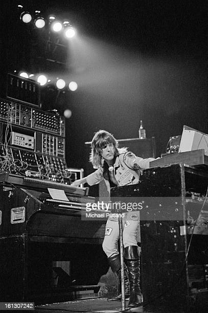 English keyboard player Keith Emerson performing with Emerson, Lake & Palmer at the Hammersmith Odeon, London, 26th November 1972.