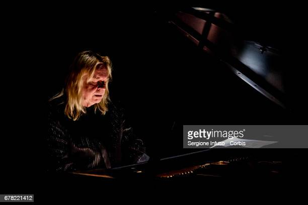 English keyboardist songwriter television and radio presenter and author Rick Wakeman performs on stage on May 3 2017 in Milan Italy