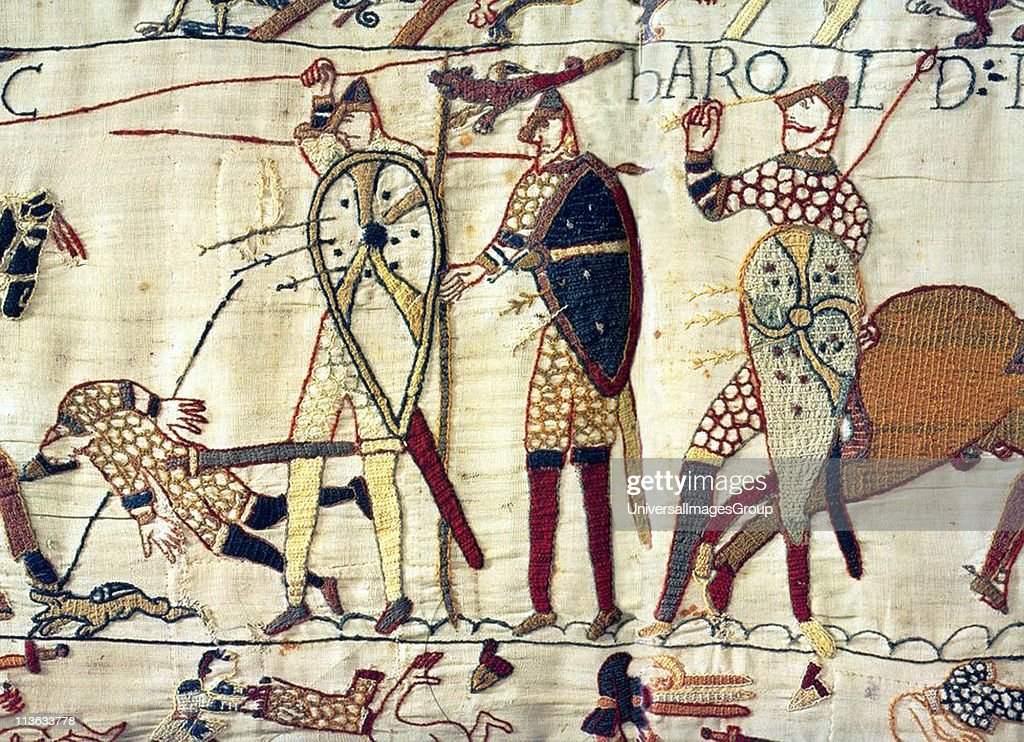 English King Harold lies dead at the Battle of Hastings during the Norman Invasion of 1066. Depicted in the Bayeux Tapestry... : News Photo