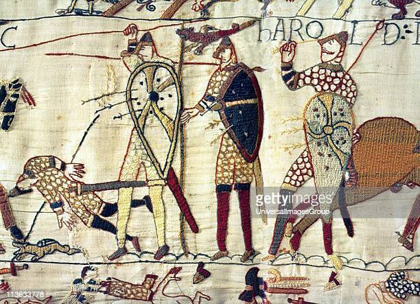 English King Harold lies dead at the Battle of Hastings during the Norman Invasion of 1066 Depicted in the Bayeux Tapestry