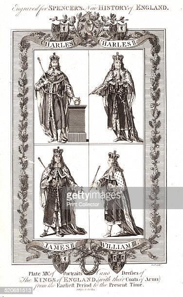 English Kings with coats of ArmsCharles ICharles IIJames II William IIISpencers New History of England 18th century