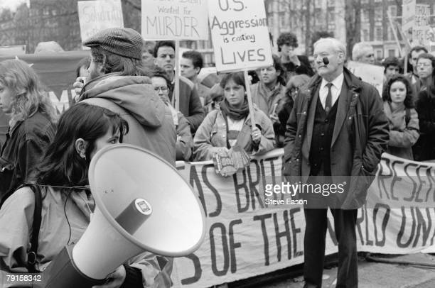 English Labour party politician Tony Benn at a demonstration against American involvement in El Salvador London January 1990