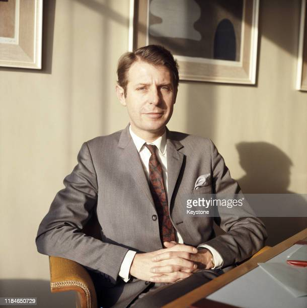 English Labour politician Richard Marsh the Minister of Transport at his desk in London UK November 1968