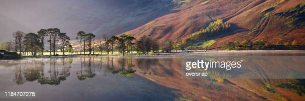 english lake district panorama - reflection lake stock photos and pictures